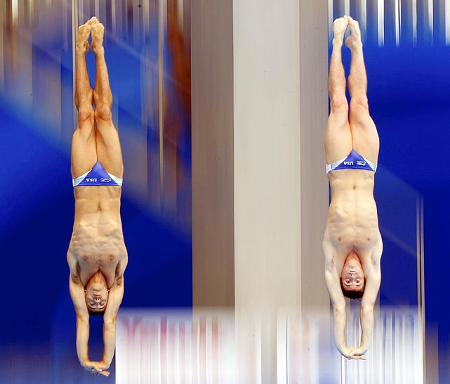 U.S. swimmers David Boudia and Nick McCrory plunge in during the preliminary round of the 10m platform synchro diving event at the 14th FINA World Championships in Shanghai.