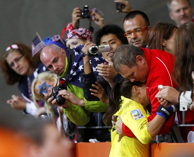 U.S. goalkeeper Hope Solo cries after her team's penalty shootout loss against Japan in the Women's World Cup final Sunday. Solo was one of the most publicized players throughout the tournament.
