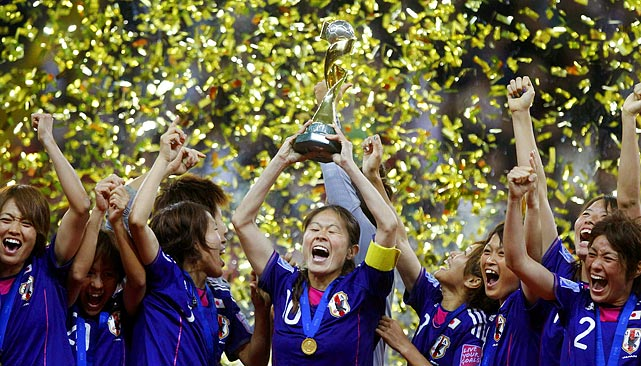 Japanese players rejoice amid streams of confetti after their dramatic penalty kick victory against the U.S. in the Women's World Cup final. The Japanese came back against the U.S. twice, including a goal with just over three minutes left in extra time to send the game to penalty kicks.