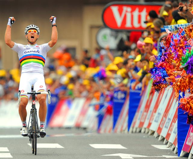 Thor Hushovd of Norway raises his arms in triumph after winning Stage 13 of the Tour de France from Pau to Lourdes. The famed race finishes July 24.