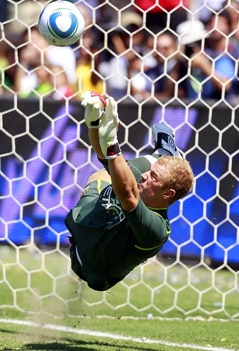 After his team fought the LA Galaxy to a 1-1 tie and overtime, Manchester City's Joe Hart made his final penalty save before scoring the clinching PK to help Manchester City to the 7-6 PK decision in the friendly on July 24.
