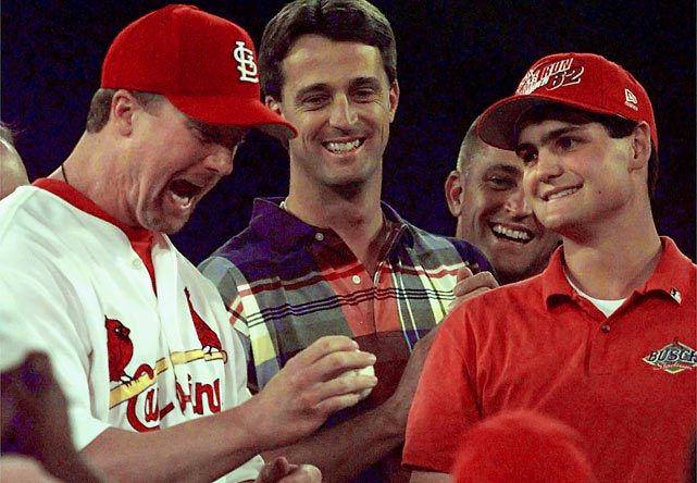 A magical year for baseball (at the time, at least), the 1998 season reached a climax with Mark McGwire breaking Roger Maris' home run record while slugging rival Sammy Sosa, as well as Roger Maris' children, looked on. Cardinals groundskeeper Tim Forneris picked up the ball and gave it to McGwire after the game, who then gave it to the Hall of Fame. In exchange Forneris was given a lifetime family pass to Cooperstown.