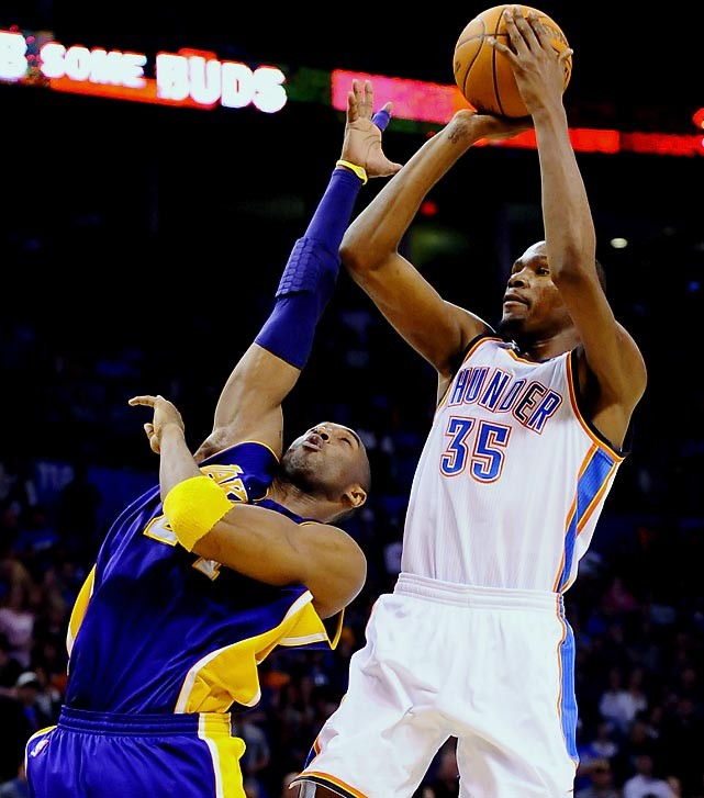 To cap the opening-night festivities, the Lakers and new coach Mike Brown host Kevin Durant and the Thunder. L.A. was swept by the Mavericks in the second round last season, while Oklahoma City improved over its previous postseason performance with a trip the conference finals.