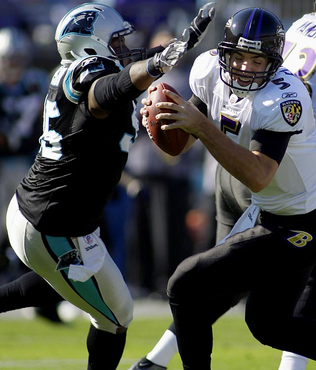 In 2009, the Carolina Panthers paid Julius Peppers more than $1 million per game for his 10.5 sacks and 36 solo tackles. Charles Johnson put up 11.5 sacks and 51 solo tackles last year for a fraction of the cost. The Panthers, who ranked 26th in the league in scoring allowed, will want to keep Johnson in Charlotte.