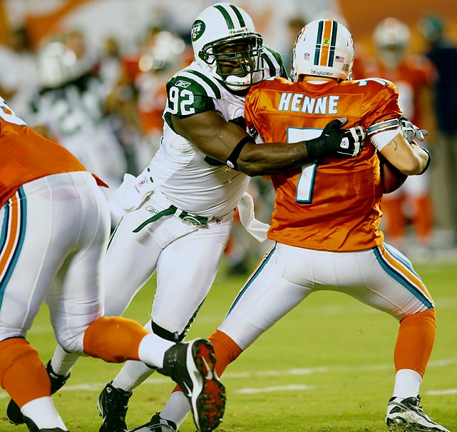 The Big Katt has become a staple of the Jets defense, playing in at least 13 games every season since 2000. His numbers are on the decline, though. The defensive end's 4.5 sacks were the lowest since 2005, with his combined 36 tackles the lowest since his rookie season.
