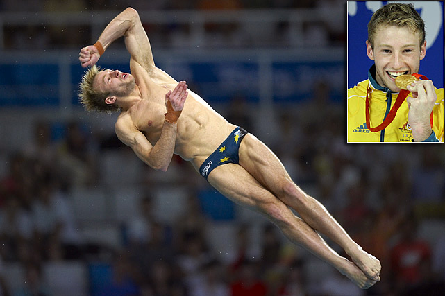 In 2008, Mitcham became the first Australian male to win an Olympic gold medal in diving since 1924. He dominated the 10-meter platform, finishing with the highest single-dive score in Olympic history. The 23-year-old Mitcham is one of a handful of openly gay athletes competing in the Olympics, though he missed the recent World Championships due to an abdominal injury.