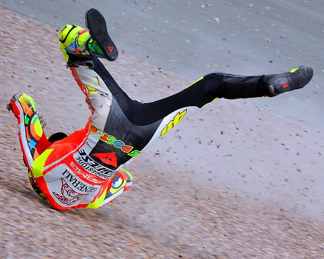 Valentino Rossi took a tumble during a 2011 motorcycle race in Germany.