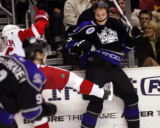 Few things are worse than a kick in the crotch. Getting kicked by a foot that has a blade on the end qualifies, though, as Dustin Brown found out.