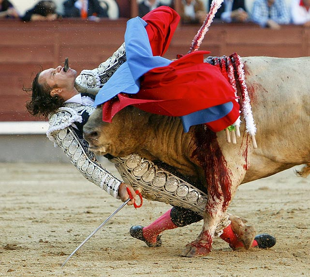 Spanish bullfighter Julio Aparicio gets gored by a bull during a 2010 bullfight in Madrid.