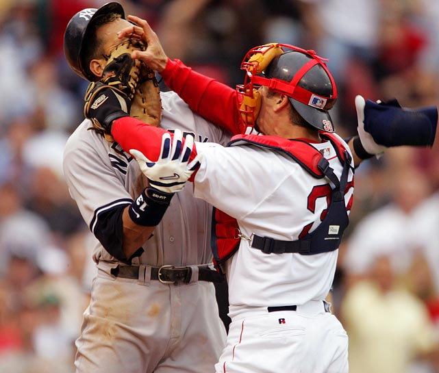 Alex Rodriguez gets taught the lesson of not trying to pick a fight with a catcher, especially if he (Jason Varitek) still has his huge glove on his hand. It was all part of a 2004 bench-clearing brawl between the two teams.