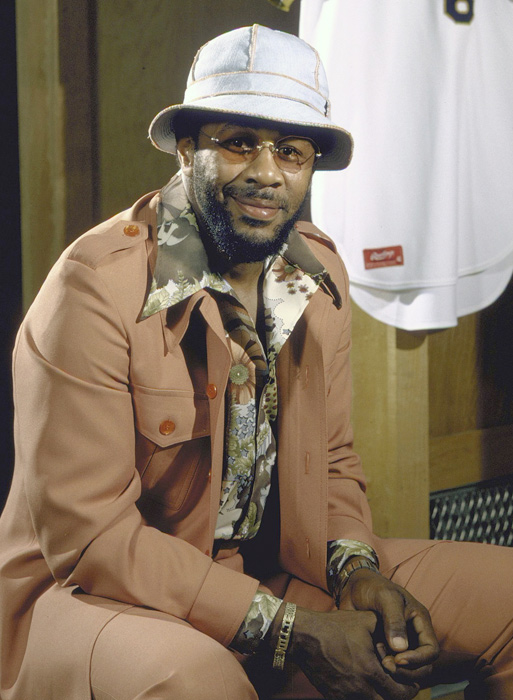 A dapper Willie Stargell sits at his locker at Three Rivers Stadium.