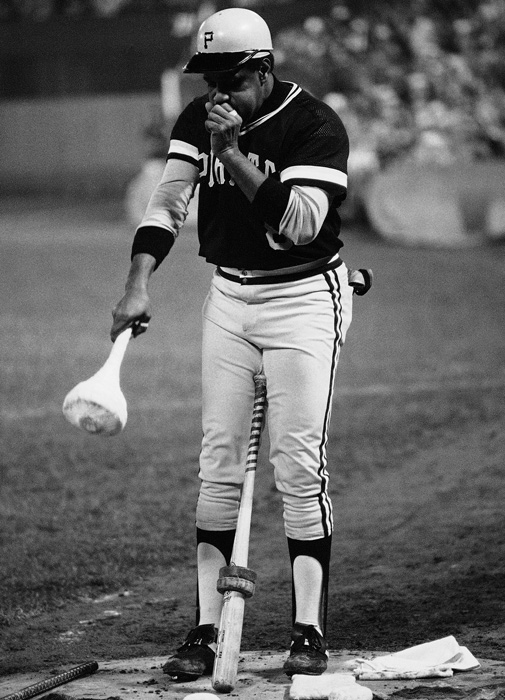 Willie Stargell warms up during the first game of the 1979 World Series. His eighth-inning solo home run wasn't enough to win Game 1, but his two-run blast in the deciding Game 7 gave the Pirates their fifth and most recent World Series.