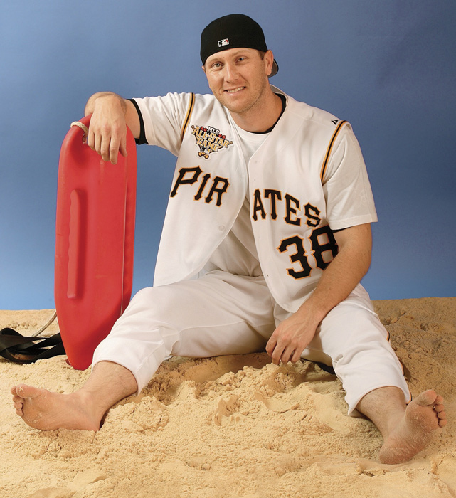 Jason Bay, who went to two All-Star games as a Pirate, does his best Baywatch impression at PNC Park in 2006.
