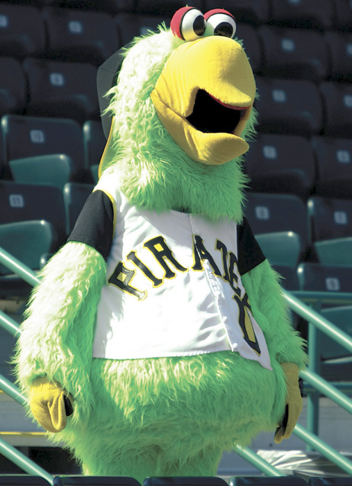 The Pirates' counter to the Philly Phanatic, the Pirate Parrot comes from Treasure Island. The Parrot is seen here during a spring training game in 2003.
