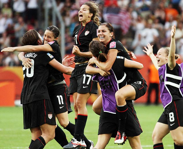 The ecstatic U.S. players embrace each other after having pulled off an improbable victory.