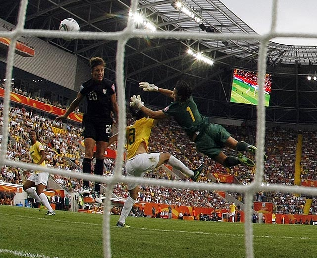 With the U.S. seconds away from being eliminated from the World Cup, Abby Wambach scored on a header to tie Brazil, 2-2, and send the two teams into a penalty shootout.