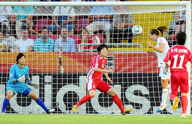 After a tough first half for the U.S. team, Lauren Cheney's header broke a scoreless tie in the team's opening game against North Korea.