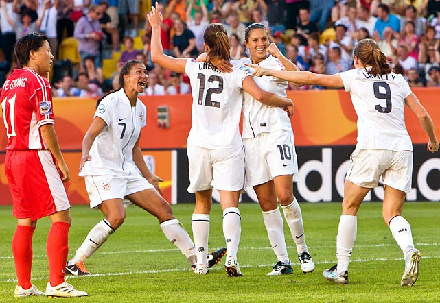 Lauren Cheney celebrates her goal against North Korea, her team's first goal of the 2011 World Cup.