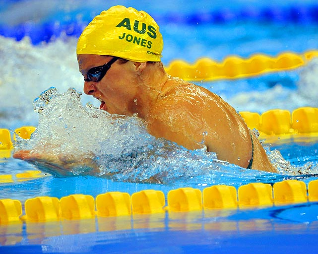 Australian Leisel Jones in mid-stroke during the 100-meter breaststroke final. Jones, who had dominated in the 100-meter race over the previous six years, finished second to Rebecca Soni of the United States.