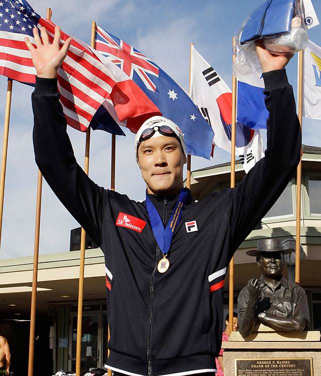 An overwhelmed 14-year-old Park Tae-Hwan fell off the starting blocks and into the pool, disqualifying himself from the 2004 Olympics without registering a swim. By 2008, Park had filled out and won a gold and silver at the Beijing Games, but he failed to final in both events at the 2009 worlds. He's since recovered, sweeping the 100, 200 and 400 free at the Santa Clara Grand Prix in June. Park will give Michael Phelps a serious run in the 200 free in Shanghai. Potential Events 100 free 200 free 400 free