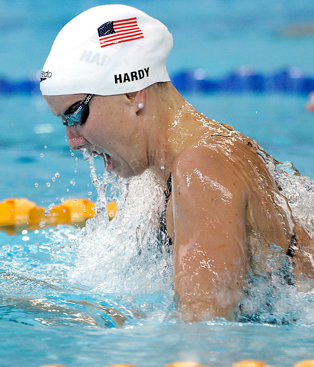 Jessica Hardy makes her return to the world stage for the first time in four years. In 2008, she tested positive for traces of clenbuterol -- proved to be from a contaminated supplement -- and was given a one-year ban. Hardy is the best U.S. hope for a medal in the splash-and-dash 50 free. She also owns the world's fastest time in the 50 breast -- not an Olympic event -- each of the last three years. Potential Events 50 breast 50 free 400 free relay