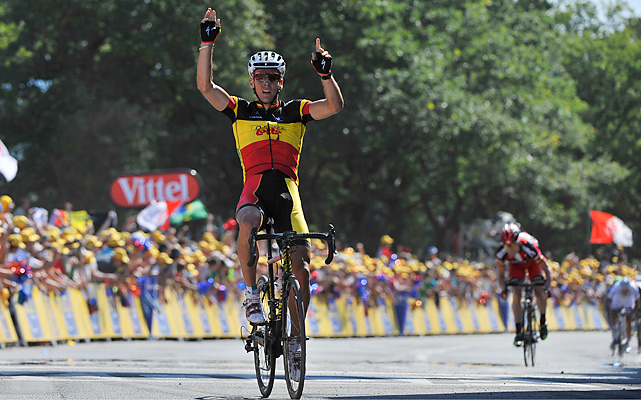 Belgian Philippe Gilbert won his first career Tour de France stage. Being the first day of the Tour, he took the yellow jersey as well.