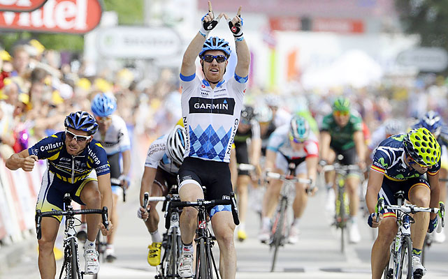 Garmin-Cervelo's success continued into the third stage where its sprinter, Tyler Farrar, picked up his long-awaited first career stage win. Farrar saluted late friend Wouter Weylandt after he crossed the finish line. Weylandt crashed and died during the Giro d'Italia in May.