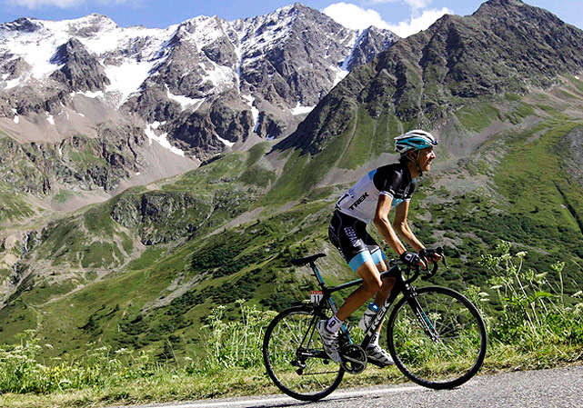 Team Leopard rider Andy Schleck of Luxembourg cycles up the Col du Galibier during the 18th stage of the Tour de France from Pinerolo to Galibier Serre-Chevalier.
