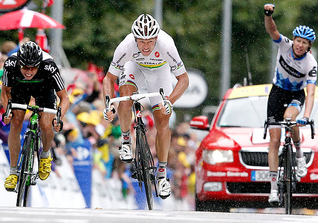Thor Hushovd's second stage victory of this Tour de France was largely overlooked by Alberto Contador's upward movement in the rankings. Contador gained several seconds on Thomas Voeckler, who still held the yellow jersey, and moved into sixth overall.