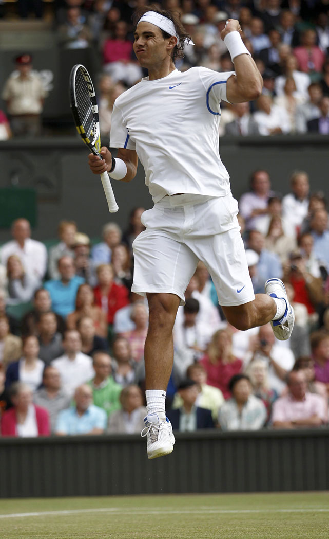 Rafael Nadal celebrates after match point of his semifinal match with Andy Murray.