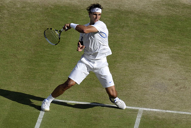 Rafael Nadal returns to Andy Murray during Friday's semifinal match.