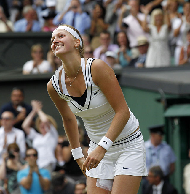 Petra Kvitova celebrates match point of her victory over Maria Sharapova.
