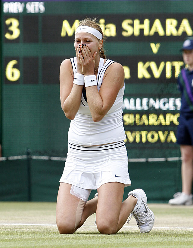 Petra Kvitova reacts after defeating Maria Sharapova.