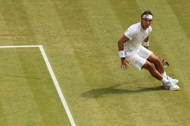 Rafael Nadal chases down a return during Sunday's match.