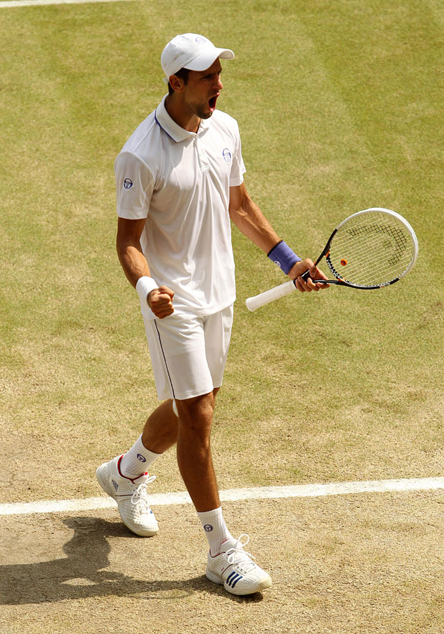 Novak Djokovic celebrates a point during the men's final.
