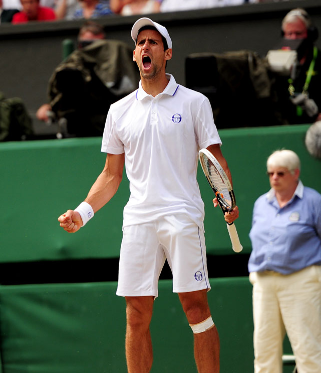 Novak Djokovic reacts during Sunday's match.