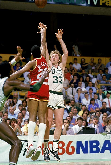 Larry Bird went for a triple-double (29 points, 11 rebounds, 12 assists) in the Celtics' title-clinching victory against Houston in Game 6. The Celtics won a then-record 82 games (including the playoffs) and finished 47-1 at home, leading to speculation in the media at the time that they were the best team ever.