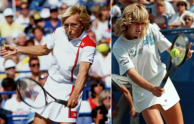 In one of the greatest women's matches of all time and an early chapter of a budding rivalry, 29-year-old Martina Navratilova fought off three match points and outlasted 17-year-old Steffi Graf 6-1, 6-7 (3-7), 7-6 (10-8) in the U.S. Open semifinals. Navratilova went on to beat Helena Sukova in the finals, part of a year in which she finished 89-3 (including 53 consecutive victories to close the season), won her fifth straight Wimbledon title and collected 13 titles overall.