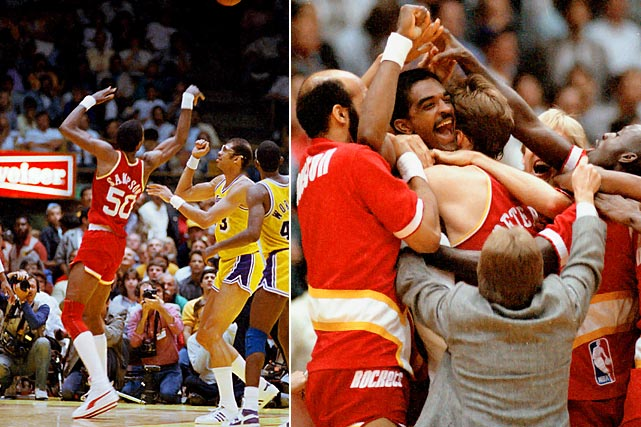 The Rockets and Lakers were tied 112-112 with one second left and Houston inbounding from midcourt in Game 5 of the Western Conference finals. In one of the most improbable and dramatic moments in playoff history, Ralph Sampson made a turnaround circus shot as the Rockets eliminated the defending champion and top-seeded Lakers and advanced to the Finals.