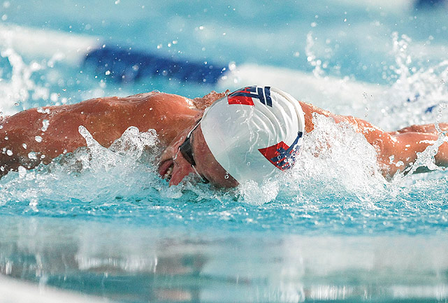 Robert Margalis churns out the butterfly leg of the 400m individual medley, in which he takes the victory.