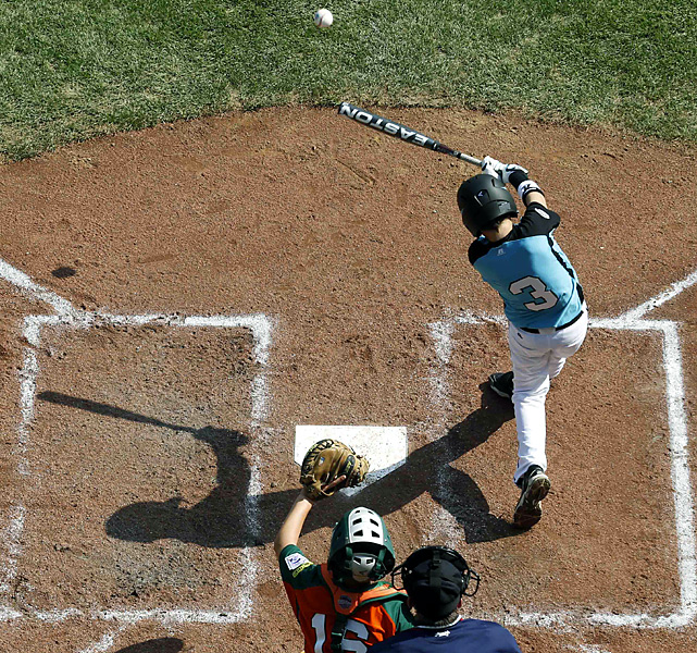 Trey Odom, from Warner Robins, Ga., collects a third-inning single against Rapid City, S.D.