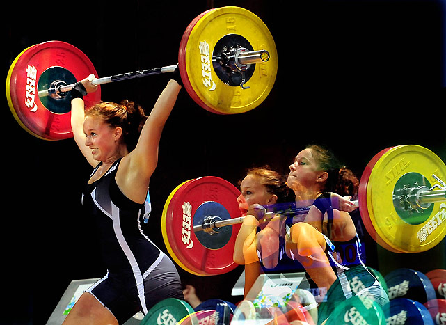This multi-exposure picture shows the phases of Northern Michigan University's Alexandria Henry completing her clean-and-jerk in the women's 69kg competition.