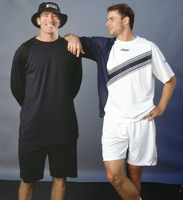 Andy Roddick with Brad Gilbert, his coach from early 2003 to late 2004. Under Gilbert, Roddick won his only Grand Slam and held the No. 1 ranking.