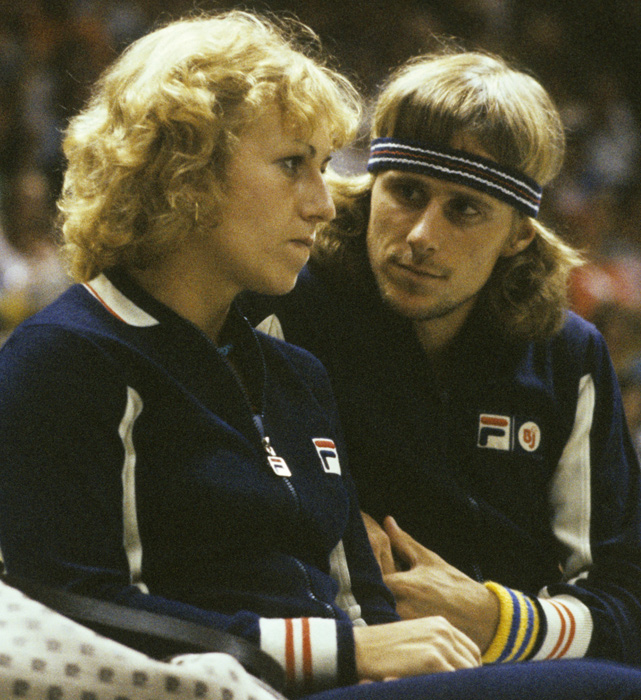 Bjorn Borg chats with teammate and girlfriend Mariana Simionescu during a 1977 Team Tennis match between Borg's Cleveland Nets and the New York Apples. The couple married in 1980 and divorced four years later.