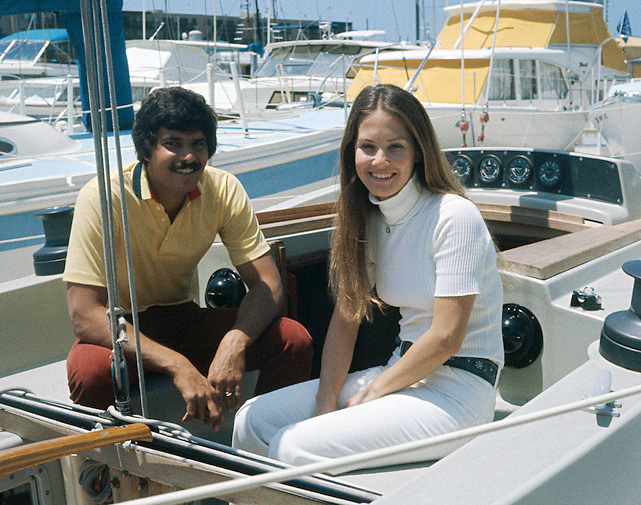 Mark Spitz relaxes on his sailboat with wife, Susan. The two have been married since 1973.