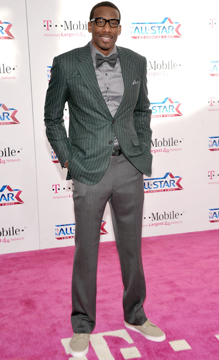 Amare Stoudemire shows off his hipster side, wearing canvas shoes, square glasses and a bowtie.