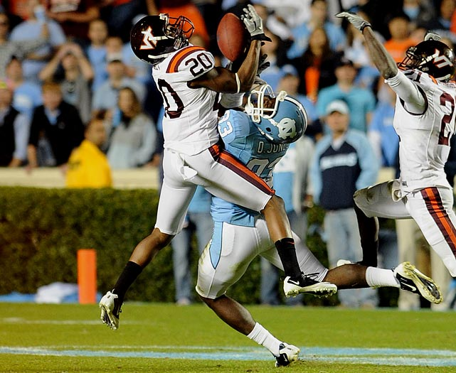 The dynamic sophomore corralled an FBS-best nine interceptions in 2010, tying a Virginia Tech record. Three came in the Hokies' comeback win at North Carolina State, one to clinch the victory with 1:27 remaining.