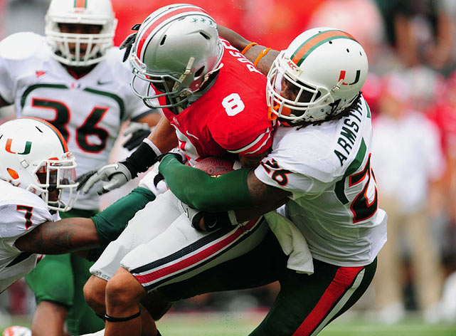 Known for his instincts and terrific closing speed, Armstrong hauled in three interceptions last season, each during Hurricane victories. The 6-4 defensive back also recorded 79 tackles, third on the Hurricanes' roster.
