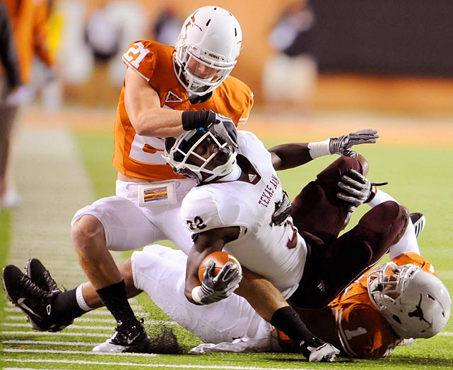 It seems as if he's been a Longhorn forever, starting all 39 games since he arrived on campus. An honorable mention All-Big 12 pick every year, he has 194 career tackles and eight interceptions.
