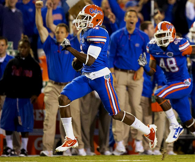 Still developing as a receiver, the speedster, who has drawn comparisons with ex-Gator Percy Harvin, averaged 28.0 yards on his 21 kickoff returns in 2010, running two in for touchdowns.